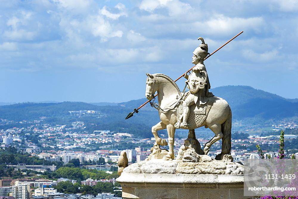 Sao Longuinhos equestrian statue, Santuario do Bom Jesus do Monte (Good Jesus of the Mount Sanctuary), UNESCO World Heritage Site, Tenoes, Braga, Minho, Portugal, Europe