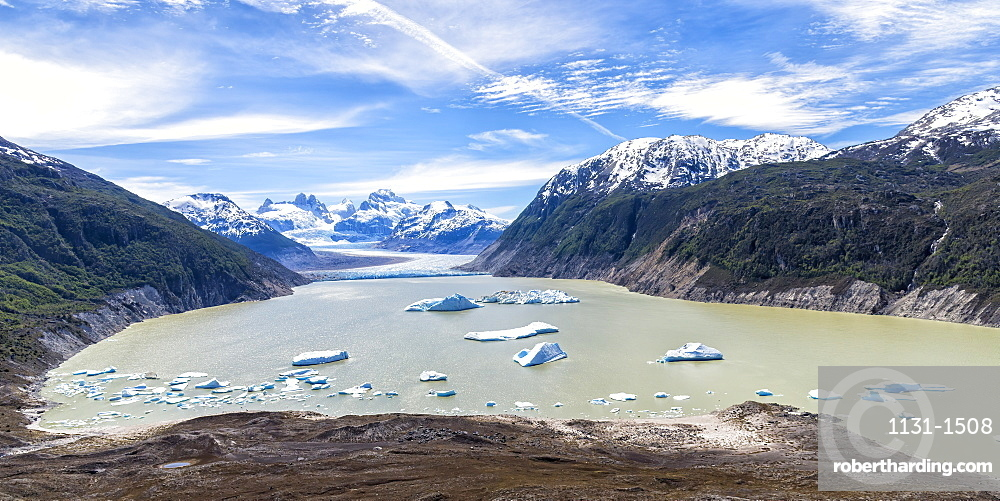 Glacial lake with small icebergs floating, Laguna San Rafael National Park, Aysen Region, Patagonia, Chile