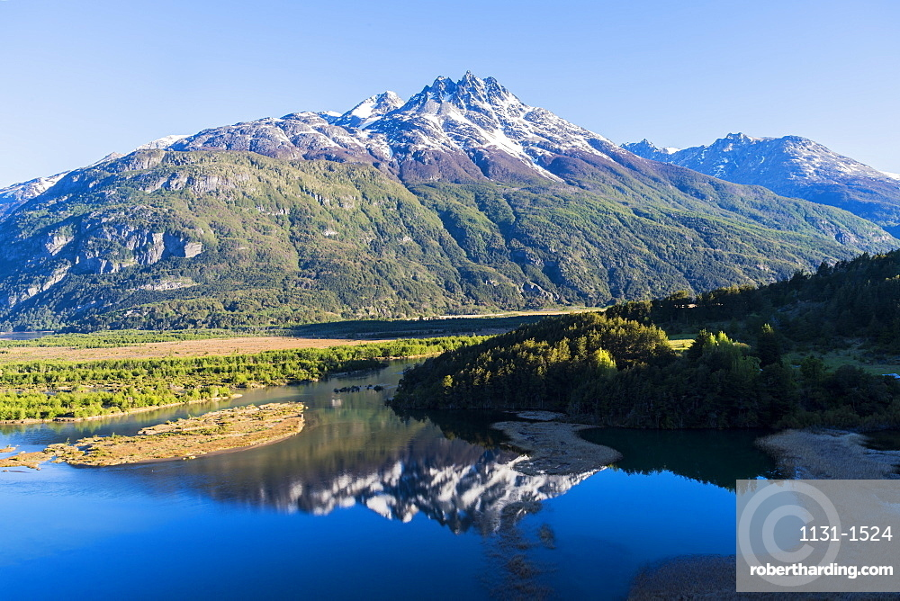 Castillo mountain range and Ibanez river wide valley viewed from the Pan-American Highway, Aysen Region, Patagonia, Chile