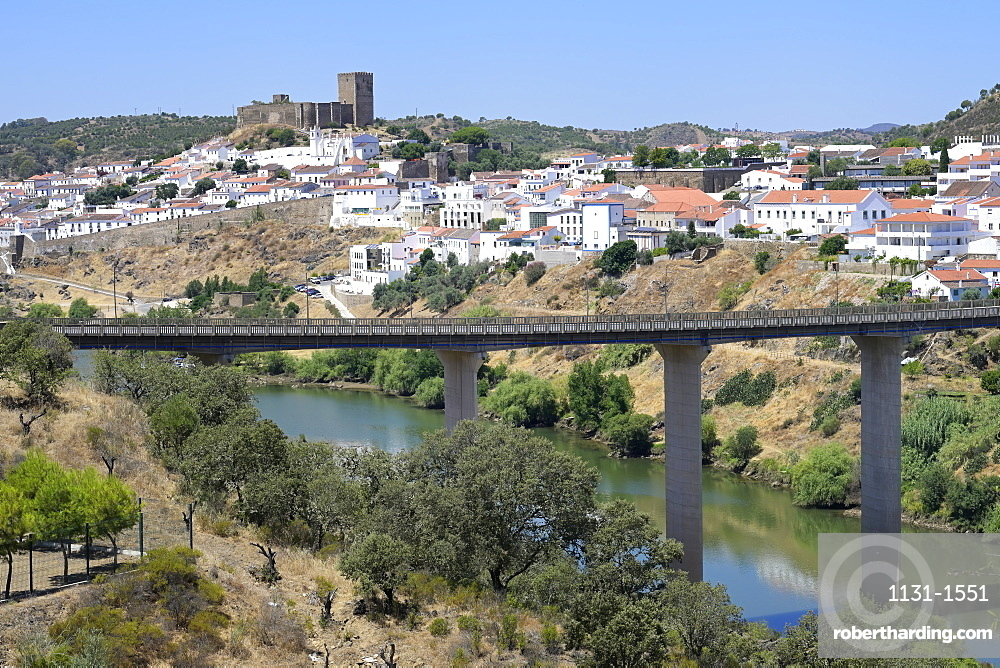 View over Mertola Castle and St. Mary's Church, Mertola, Alentejo, Portugal, Europe