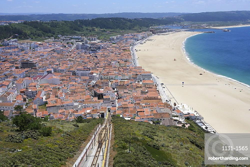 Funicular railway between Sitio and Nazare beach, Leiria district, Portugal, Europe