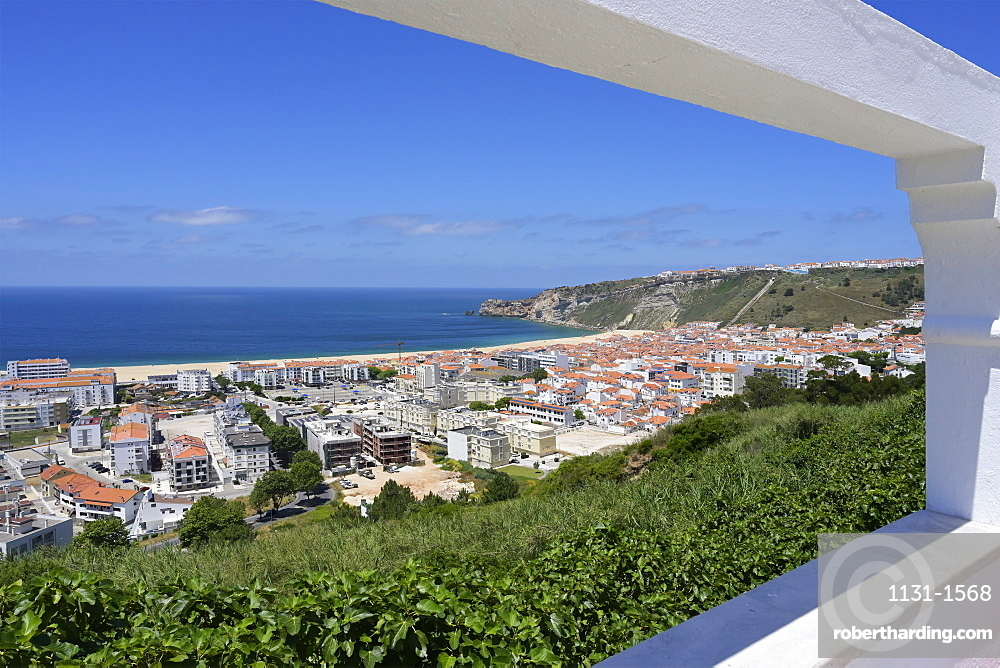 View over Nazare and the Atlantic Ocean, Leiria district, Portugal, Europe
