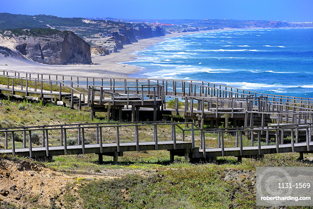 Boardwalk overlooking the Atlantic coast, Foz de Arelho, Leiria district, Portugal, Europe