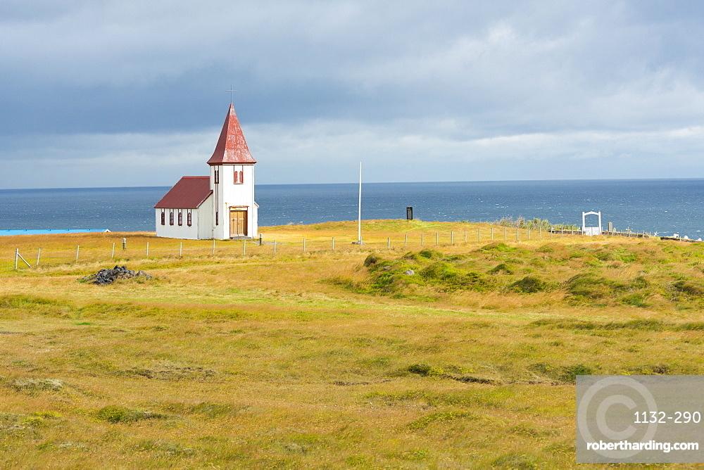 Church by the Sea, Hellnar, Snaefellsnes Peninsula, Iceland, Polar Regions