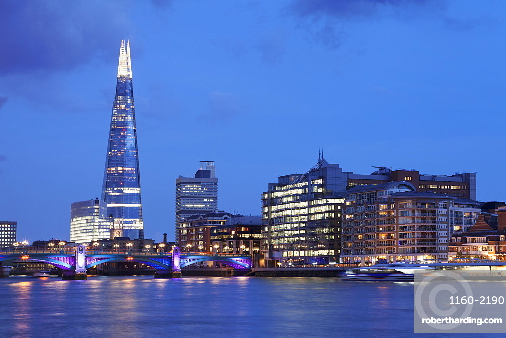 View over River Thames at Southwark with The Shard skyscraper, Architect Renzo Piano, London, England, United Kingdom, Europe