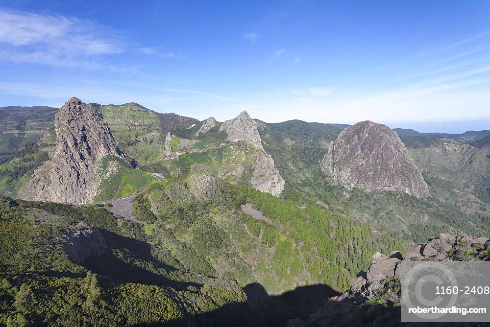 Three former volcanos, Roque de Agando, Degollada de Agando, Mirador de los Roques, La Gomera, Canary Islands, Spain, Europe