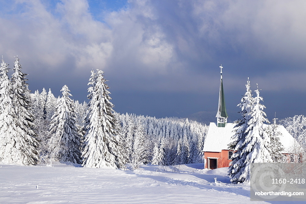 Winter landscape with church, Kandel Mountain, Black Forest, Baden-Wurttemberg, Germany, Europe