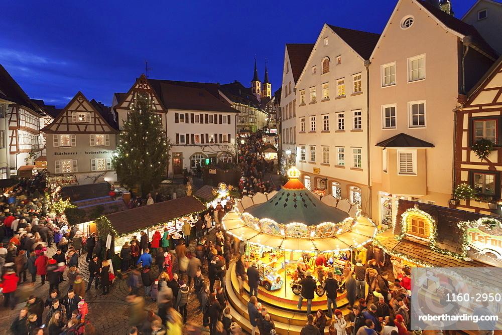 Christmas fair, Blauer Turm Tower, Bad Wimpfen, Baden-Wurttemberg, Germany, Europe