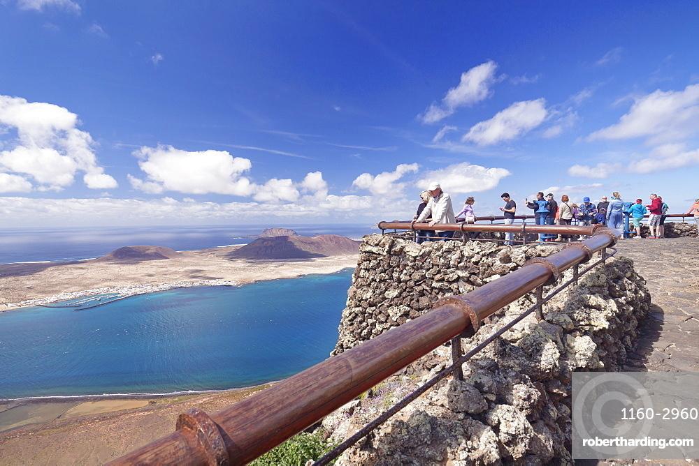 View from Mirador del Rio to La Graciosa Island, by Cesar Manrique, Lanzarote, Canary Islands, Spain, Atlantic, Europe