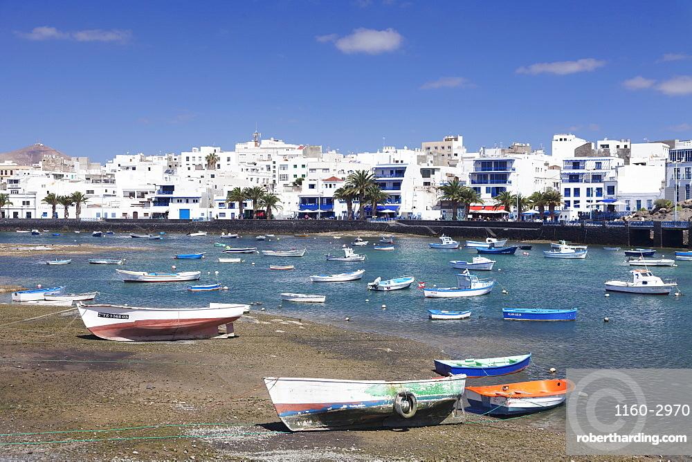 Fishing boats at Charco San Gines laguna, Arrecife, Lanzarote, Canary Islands, Spain, Atlantic, Europe