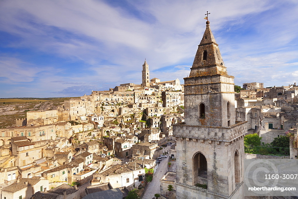 Bell tower of Chiesa di San Pietro Barisano, view over Sasso Barisano, UNESCO World Heritage Site, Matera, Basilicata, Puglia, Italy, Europe
