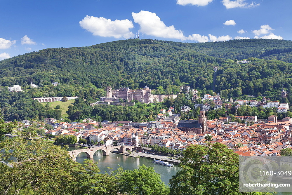 Old town with Karl-Theodor-Bridge (Old Bridge), Heilig Geist Church and Castle, Neckar River, Heidelberg, Baden-Wurttemberg, Germany, Europe