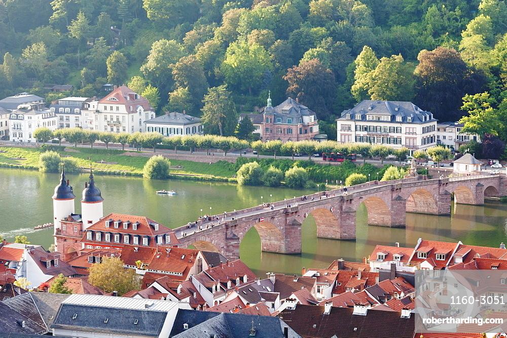 Old town with Karl-Theodor Bridge (Old Bridge) and gate, Neckar River, Heidelberg, Baden-Wurttemberg, Germany, Europe