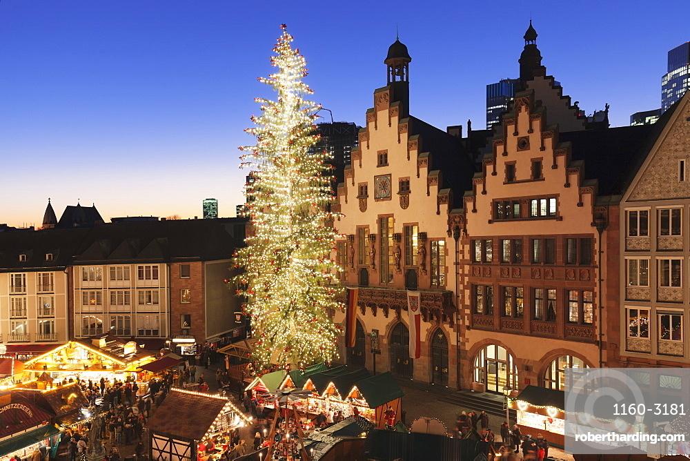 Christmas fair at Roemer, Roemerberg square, Frankfurt, Hesse, Germany, Europe
