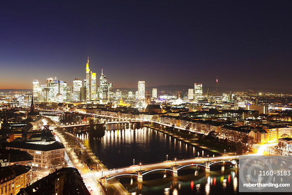View over Main River to Ignatz Bubis Bridge financial district skyline, Frankfurt, Hesse, Germany, Europe