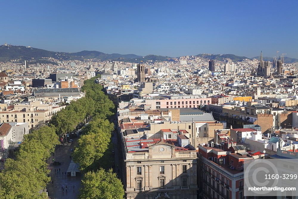 View from Columbus Monument (Monument a Colom) over La Rambla to Barcelona, Catalonia, Spain, Europe