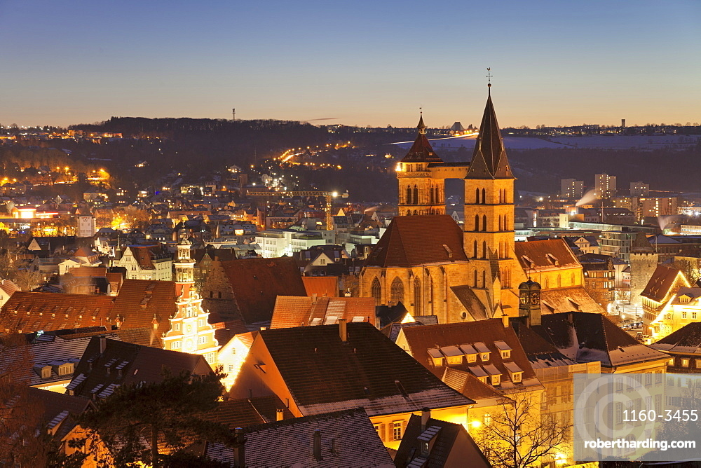 Old town of Esslingen with St. Dionys church and townhall, Esslingen, Baden-Wurttemberg, Germany, Europe
