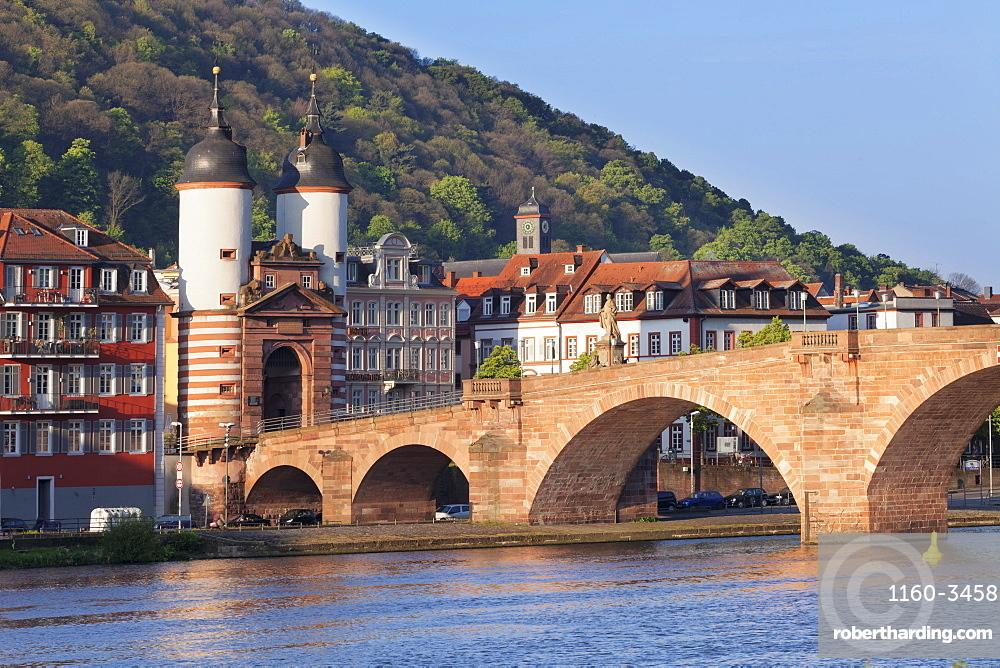 Karl-Theodor-Bridge (Old Bridge) and Gate, Heidelberg, Baden-Wurttemberg, Germany, Europe