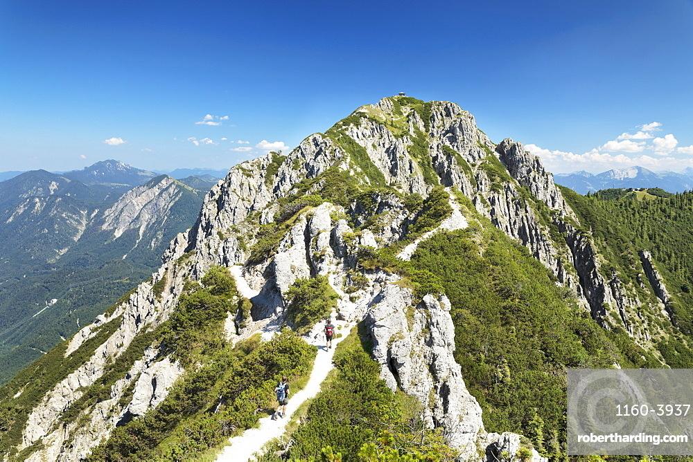 Hikers on Gratweg Trail from Heimgarten to Herzogstand Mountain, Upper Bavaria, Bavaria, Germany, Europe