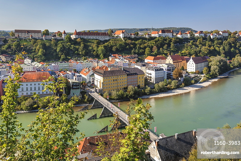Town and Burghausen Castle in Burghausen, Germany, Europe
