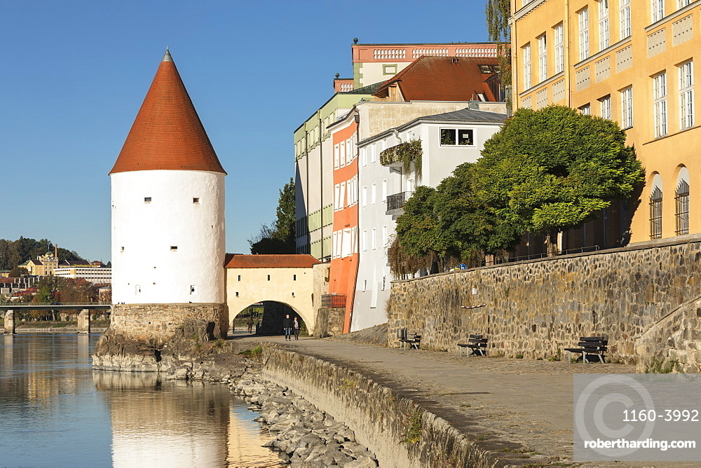 Schaibling Tower on waterfront in Passau, Germany, Europe
