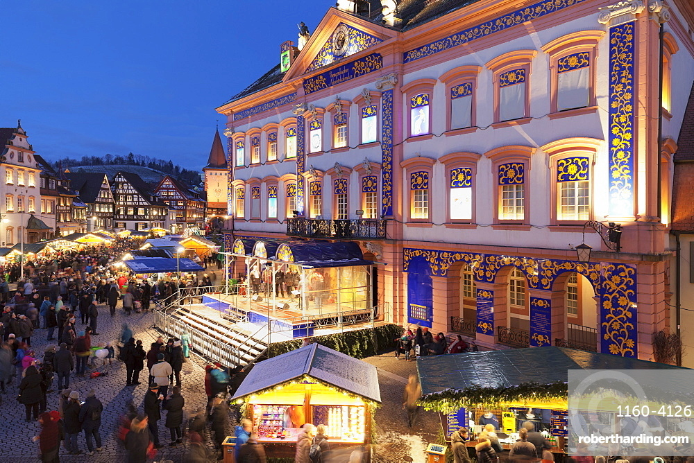 Christmas market and Advent calendar at the townhall, Gengenbach, Black Forest, Baden-Wurttemberg, Germany, Europe