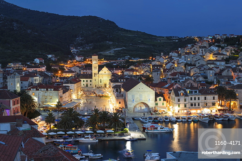 View over the port to the old town of Hvar, Hvar Island, Dalmatia, Croatia, Europe