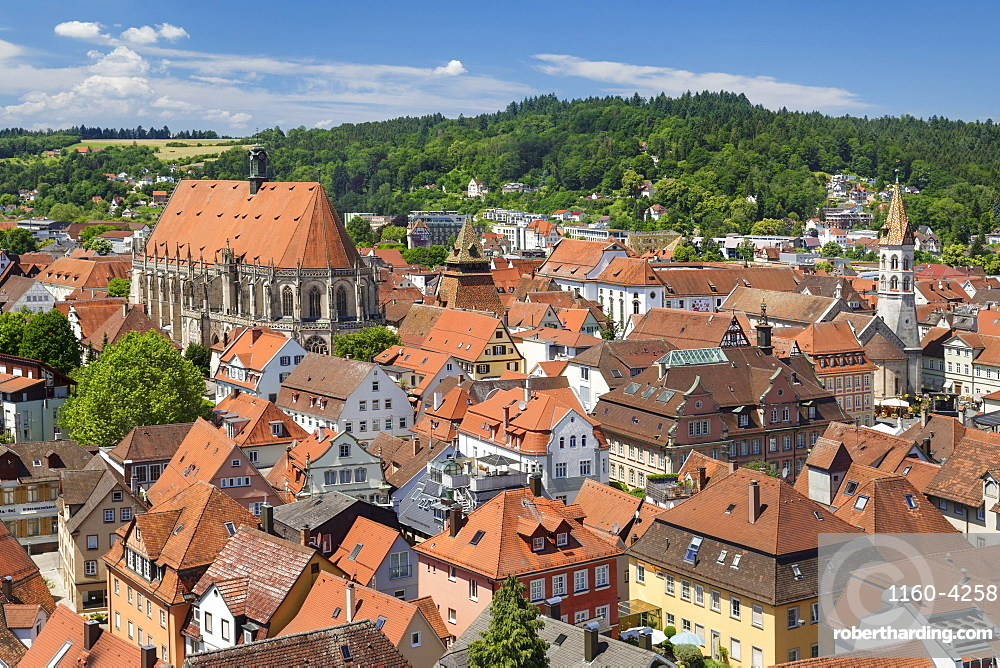 View over old town with cathedral and Johanniskirche church, Schwaebisch-Gmuend, Baden-Wuerttemberg, Germany