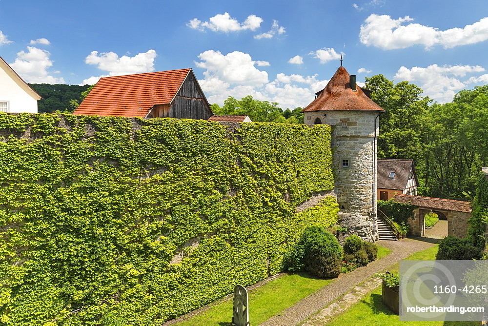 Sixischer Turm Tower on the town wall, Vellberg, Hohenlohe, Baden-Wuerttemberg, Germany