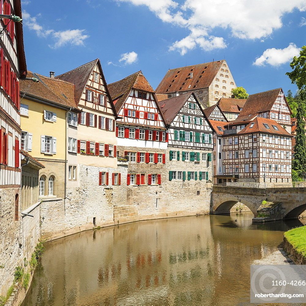 Half timbered houses in the old town, Schwaebisch Hall, Hohenlohe, Baden-Wuerttemberg, Germany