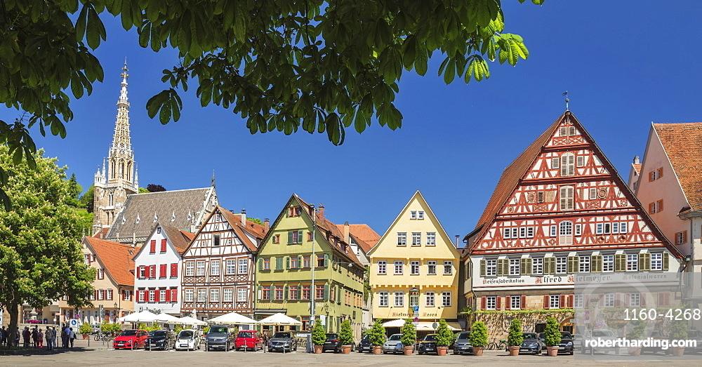 Frauenkirche church and Kielmeyer House at market place, Esslingen, Baden-Wuerttemberg, Germany