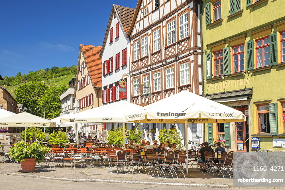 Restaurants and street cafes at market place, Esslingen, Baden-Wuerttemberg, Germany