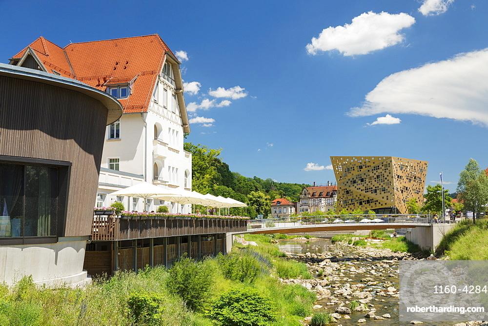 View from Villa Hirzel along Rems river to Gold und Silber event location, Schwaebisch-Gmund, Baden-Wurttemberg, Germany, Europe