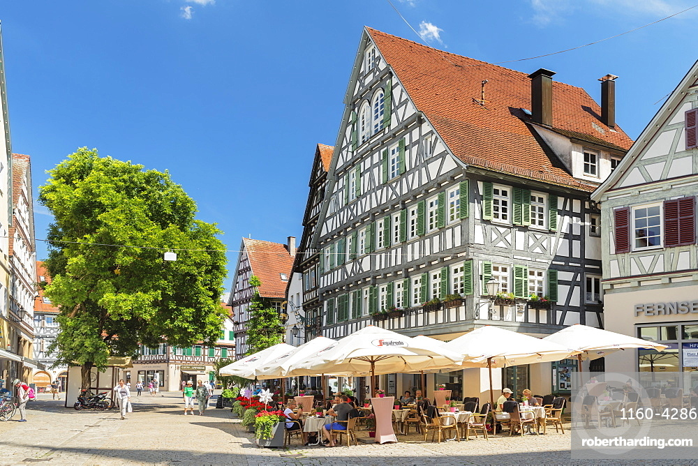 Street cafes and restaurants in pedestrian area, Schorndorf, Schorndorf, Baden-Wuerttemberg, Germany