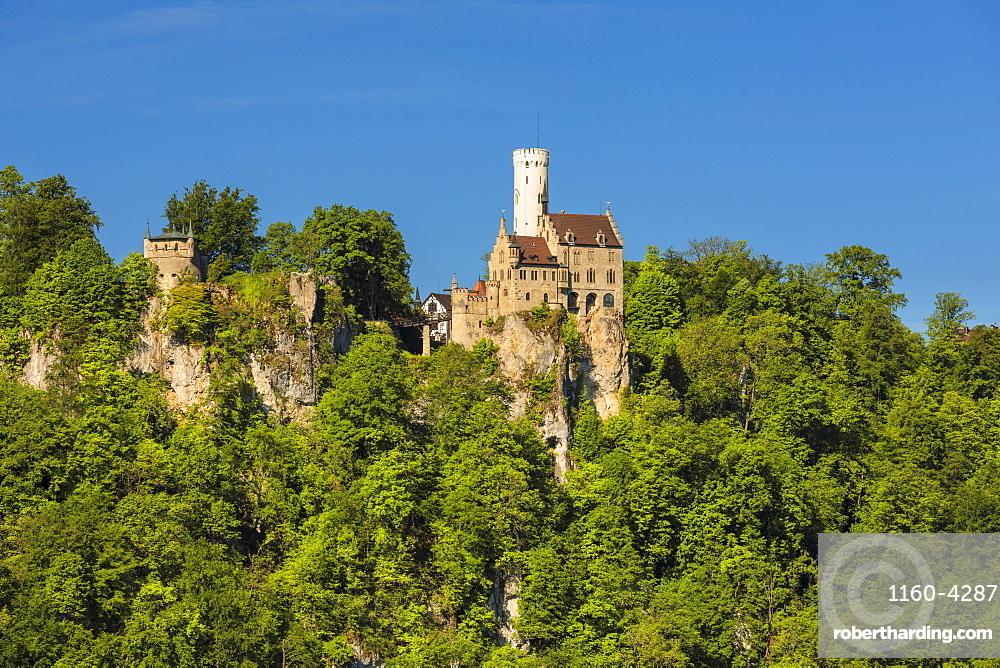 Lichtenstein castle, near Reutlingen, Swabian Jura, Baden-Wurttemberg, Germany, Europe