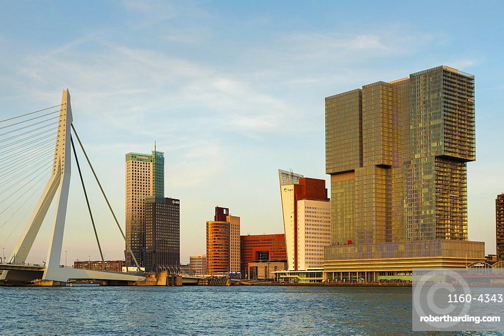 Erasmus Bridge over Nieuwe Maas River at sunset, Rotterdam, South Holland, Netherlands, Europe