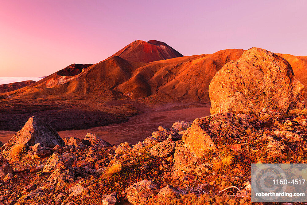 Mount Ngauruhoe at sunrise, Tongariro National Park, UNESCO World Heritage Site, North Island, New Zealand, Pacific