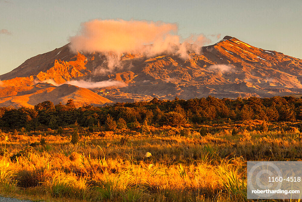 Mount Ruapehu at sunset, Tongariro National Park, UNESCO World Heritage Site, North Island, New Zealand, Pacific
