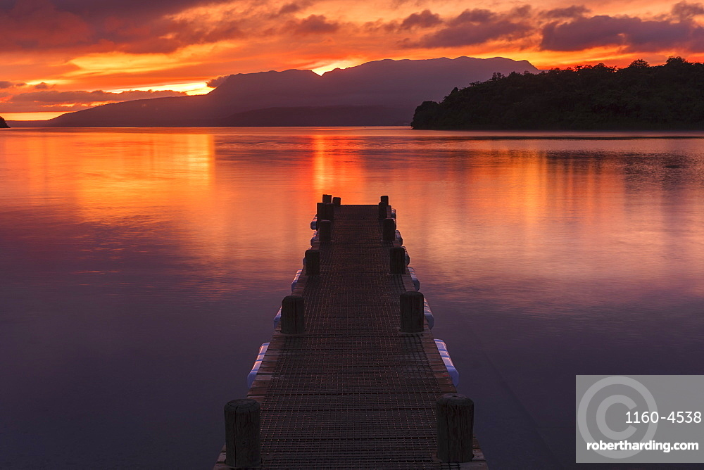 Lake Tarawera at sunrise, Rotorua, North Island, New Zealand, Pacific