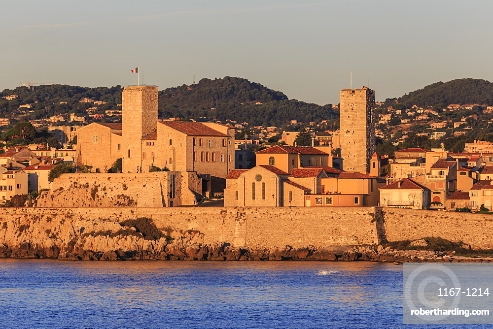 Vieil (old) Antibes, from the sea at sunrise, French Riviera, Cote d'Azur, Provence, France, Mediterranean, Europe