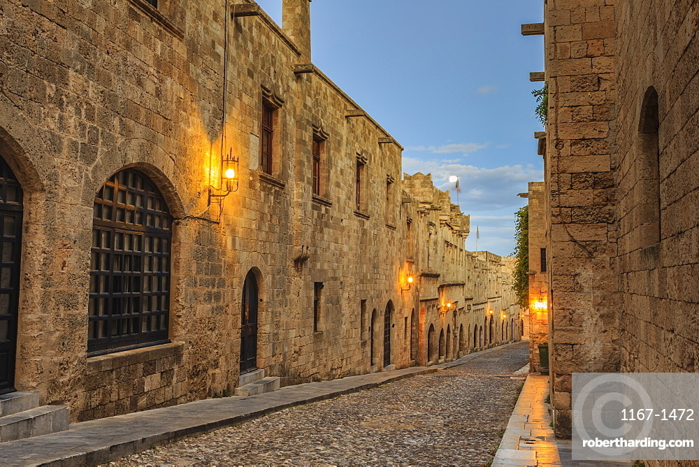 Inns at dusk, Street of the Knights, blue hour, Medieval Old Rhodes Town, UNESCO World Heritage Site, Rhodes, Dodecanese, Greek Islands, Greece, Europe