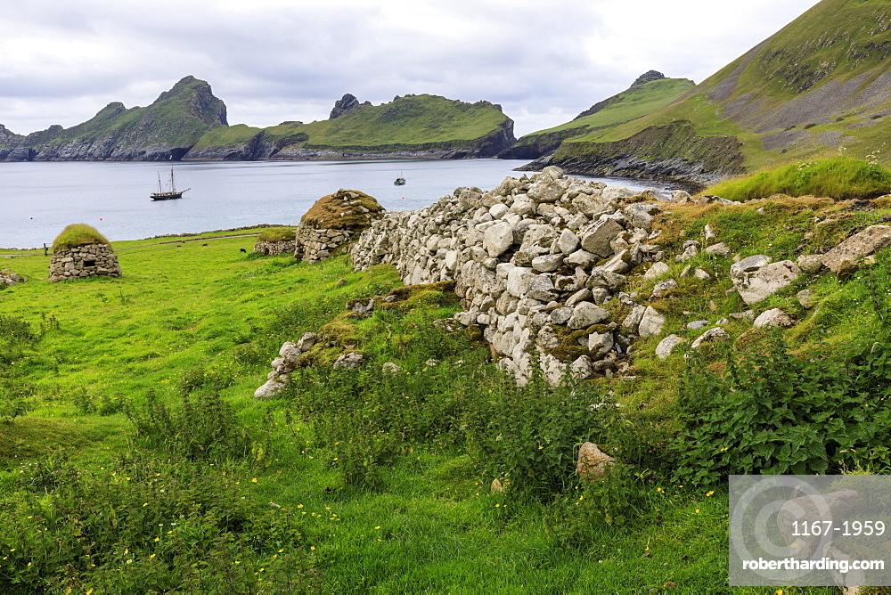 Cleits, food stores and Village Bay, evacuated village, Hirta, remote St. Kilda Archipelago, UNESCO World Heritage Site, Outer Hebrides, Scotland, United Kingdom, Europe