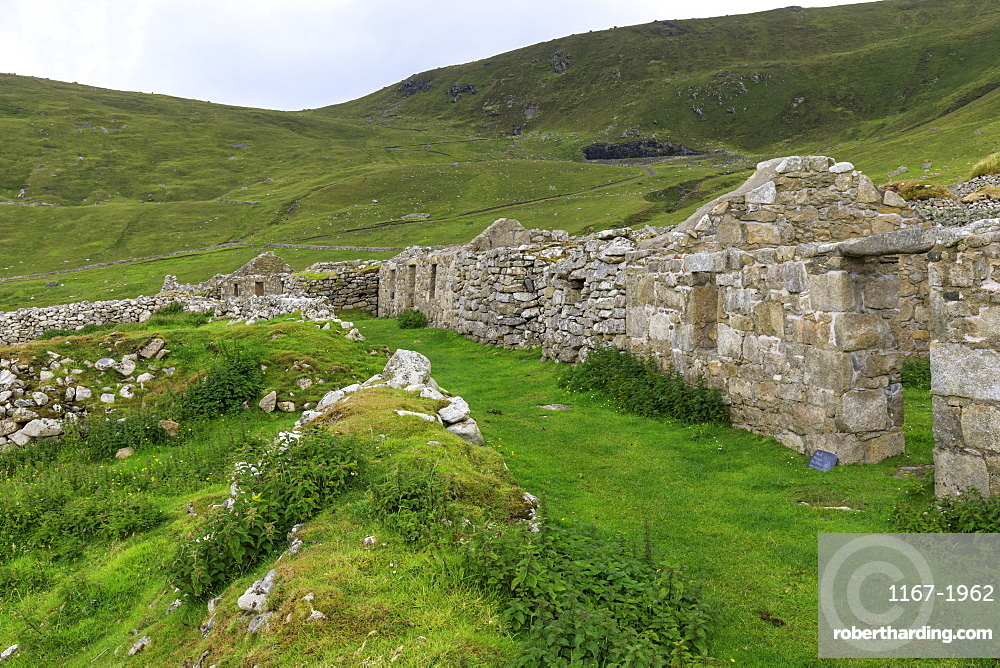 Main Street, evacuated village, Hirta, remote St. Kilda Archipelago, UNESCO World Heritage Site, Outer Hebrides, Scotland, United Kingdom, Europe