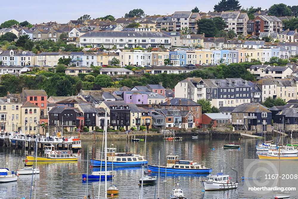 Boats moored by Falmouth in Cornwall, England, Europe