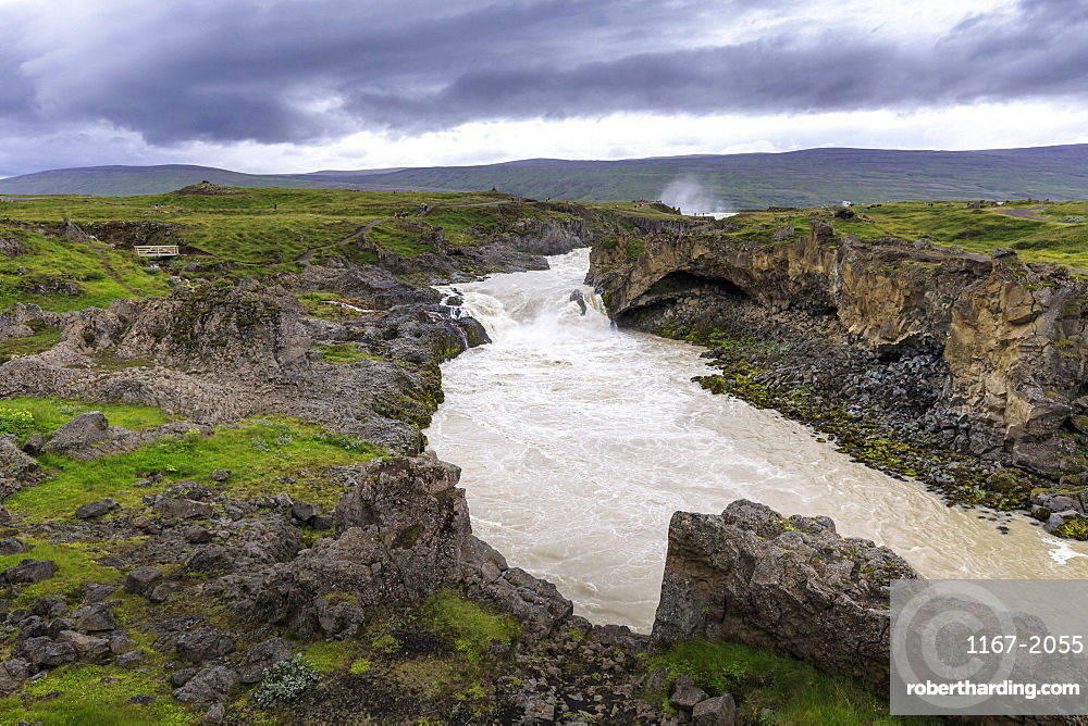 River from Godafoss waterfall in Iceland, Europe