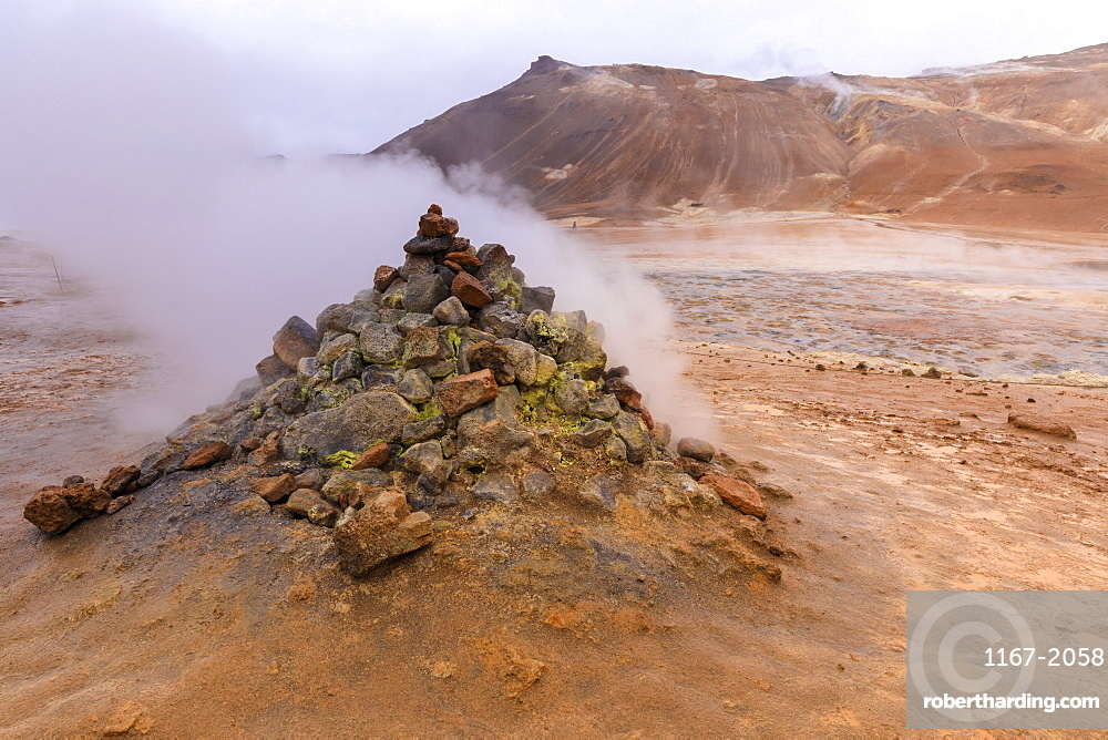 Fumarole in Namafjall Geothermal Area in Iceland, Europe