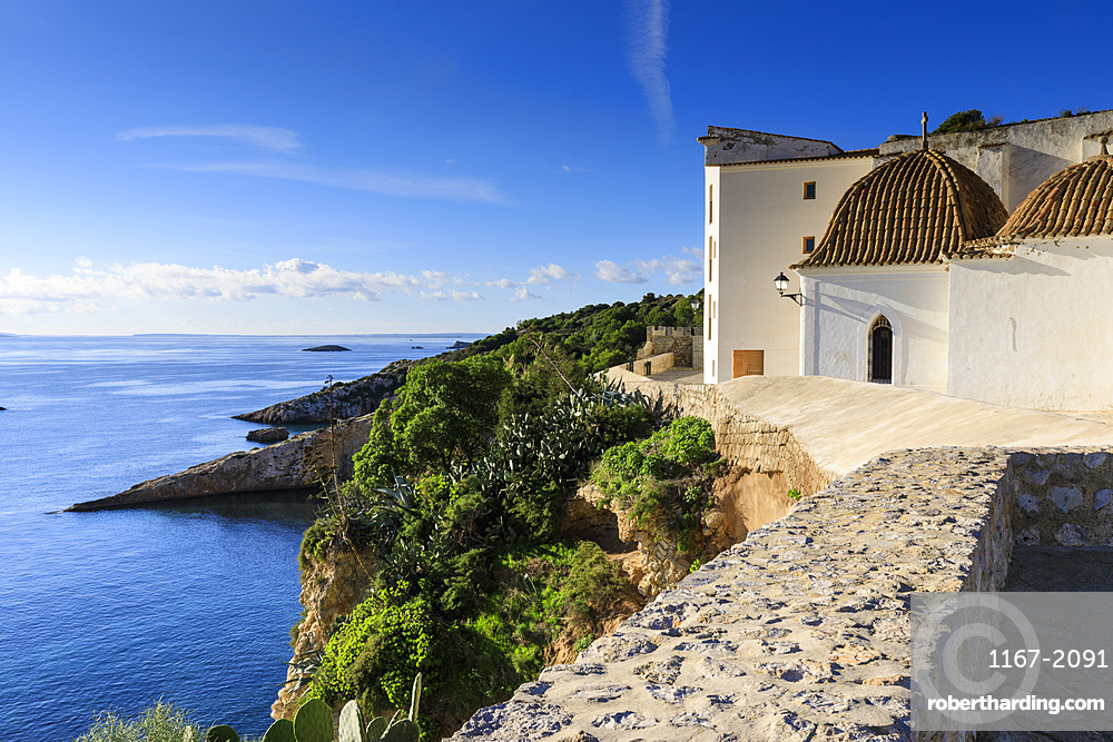 Coastal view from the ramparts, walls of Dalt Vila old town, UNESCO World Heritage Site, whitewashed church, Ibiza Town, Balearic Islands, Spain, Mediterranean, Europe