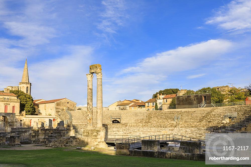 Theatre Antique, evening light, Arles Roman Ruins, Arles, UNESCO World Heritage Site, Bouches du Rhone, Provence, France, Europe