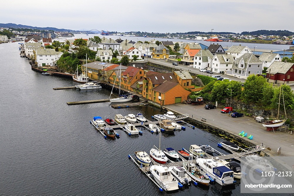 Haugesund, elevated view of harbour and historic wooden homes, Rogaland, Norway, Scandinavia, Europe