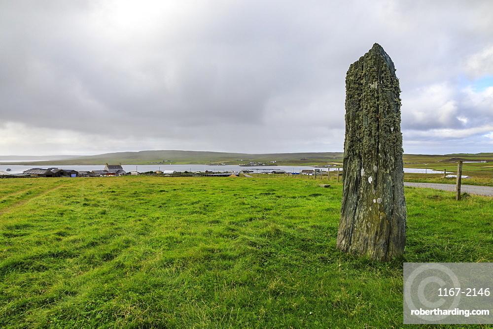 Uyea Breck Clivocast Standing Stone, coastal views, Uyeasound, Island of Unst, Shetland Isles, Scotland, United Kingdom